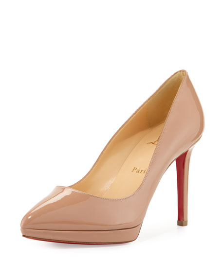 new arrival 778ea aae31 Pigalle Plato Patent Red Sole Pump Nude