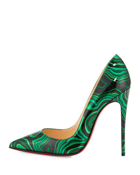 So Kate Marbled Red Sole Pump, Vert Green