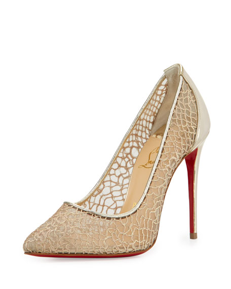 Follies Metallic Lace Red Sole Pump, Silver