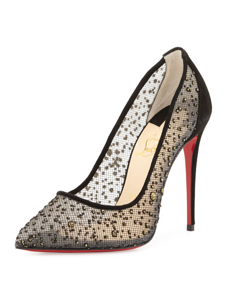 separation shoes 406a7 dce16 Follies Embellished Tulle Red Sole Pump Black