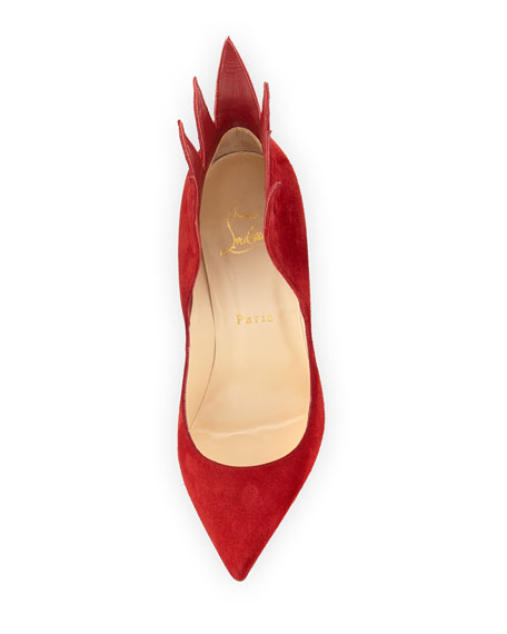 Victorina Flame 100mm Red Sole Pump, Carmin Red