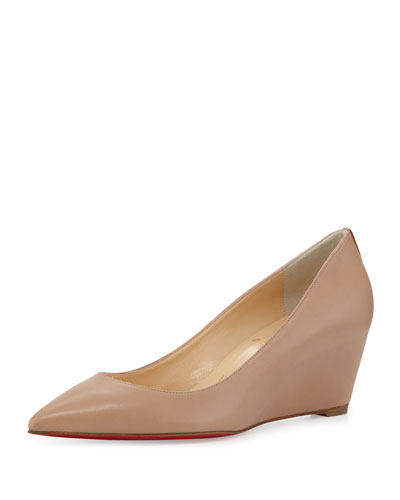Pipina 55mm Red Sole Wedge Pump, Nude