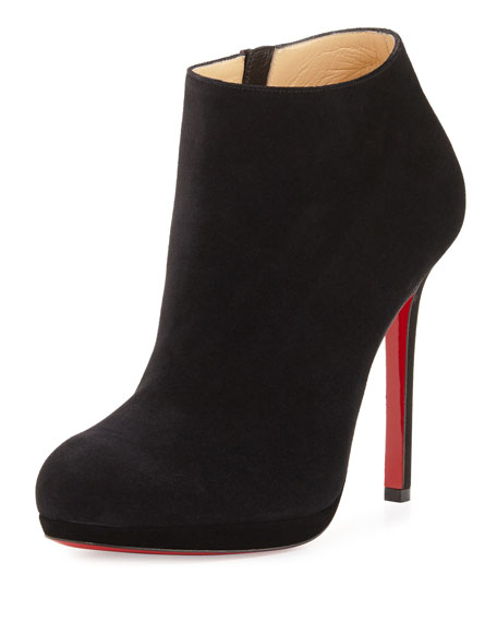 Bella Suede 120mm Red Sole Boot, Black
