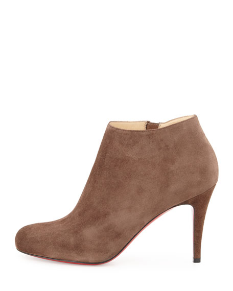 Belle Suede Red Sole Bootie, Chatain