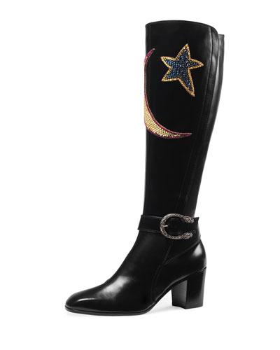 Dionysus Star & Moon Leather Boot, Black