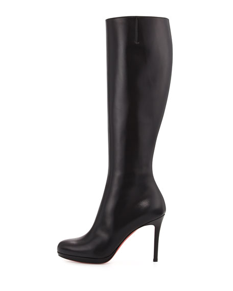 cheap for discount c18b0 fe4a0 Christian Louboutin Botalili Leather Red-Sole Knee Boot, Black