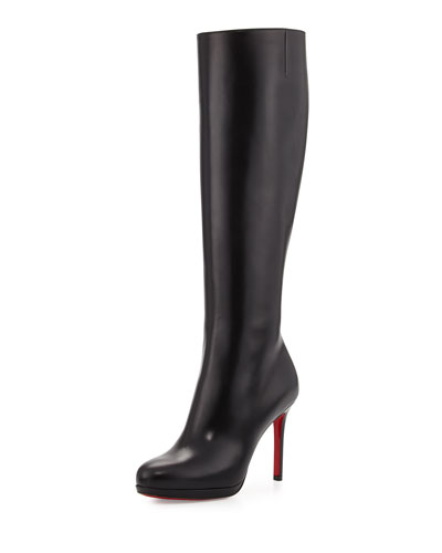 Botalili Leather Red-Sole Knee Boot, Black
