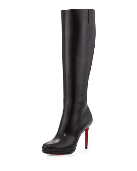 cheap for discount 2e976 fa1fc Christian Louboutin Botalili Leather Red-Sole Knee Boot, Black