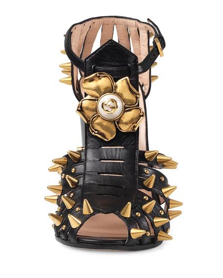 Kendell Pearly Metallic Block-Heel Sandal, Black