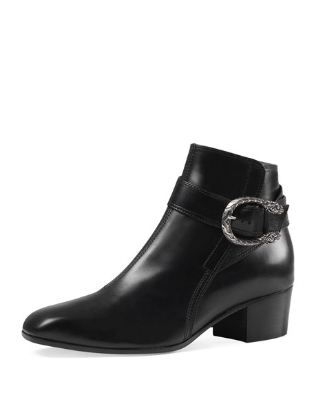 Gucci Dionysus Leather Ankle Boot, Black (Nero)