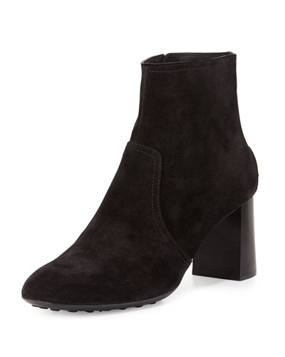 Suede Stack-Heel Ankle Boot, Black