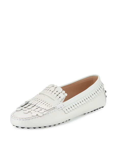 Gommino Fringed Leather Loafers - White Tod's Cheap Sale Fake Free Shipping Cheapest Price For Cheap To Buy mj1oCKNxbW