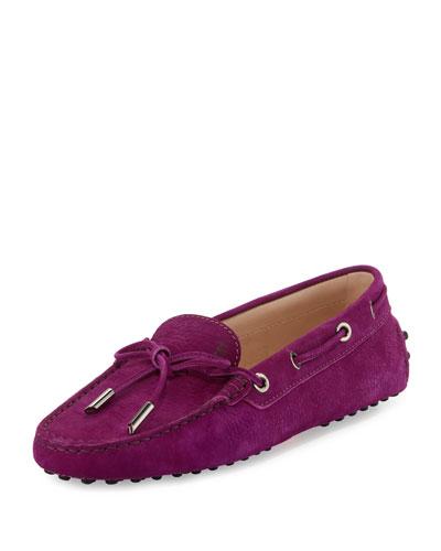Gommini Nubuck Driving Loafer, Purple Rose