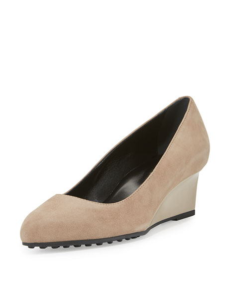 Tod's Suede 50mm Wedge Pump, Light Brown