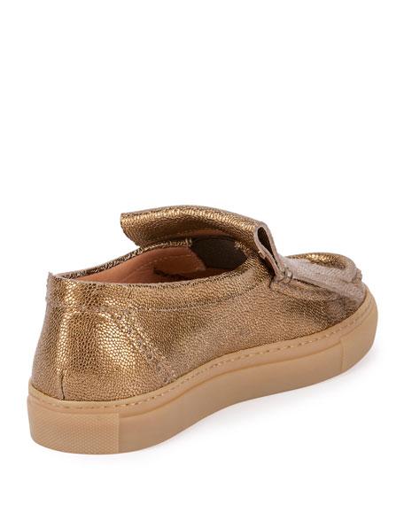 Metallic Kiltie Skate Sneaker, Gold