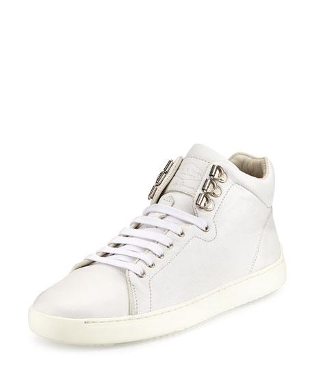 Rag & Bone Kent Leather High-Top Sneaker, White