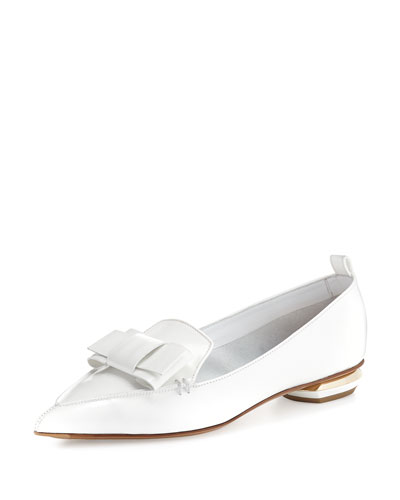 Beya Bow Pointed-Toe Loafer, White