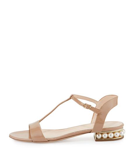 Casati Pearly Patent Flat Sandal, Nude