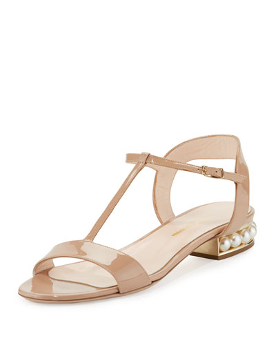 Casati Pearly Patent Flat Sandal, Nude