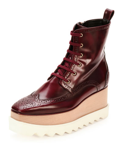 Elyse Brogue Faux-Leather Platform Boot, Cordovan