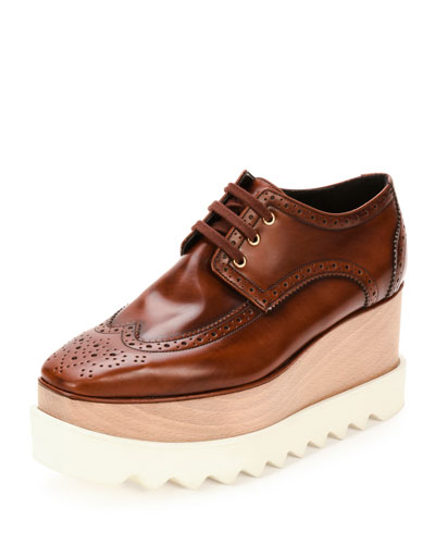 Elyse Brogue Faux-Leather Platform Oxford, Mahogany