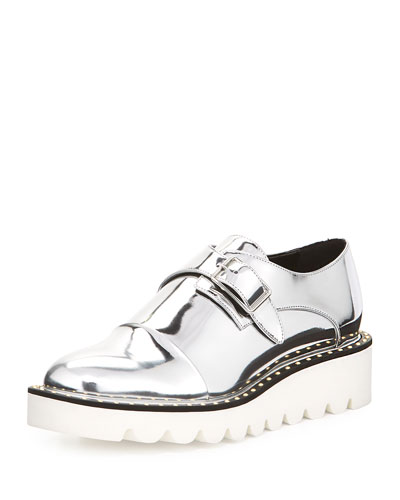 Odette Studded Faux-Leather Oxford, Indium Silver
