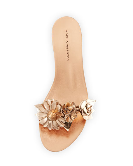 Lilico Metallic Rosette Sandal Slide, Rose Gold