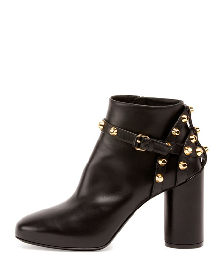 Leather Stud-Strap Ankle Boot