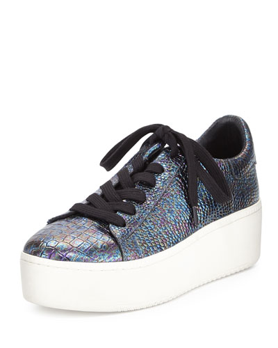 Cult Embossed Leather Platform Sneaker, Piombo
