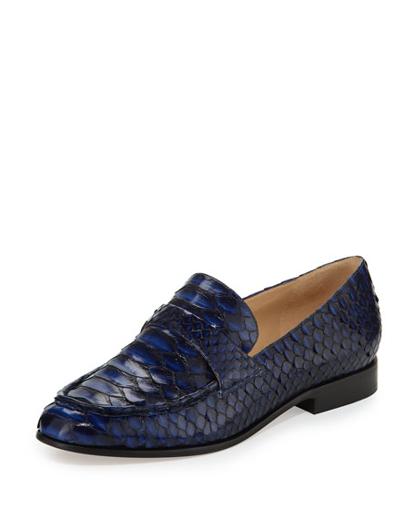 Alexandre Birman Flat Python Slip-On Loafer