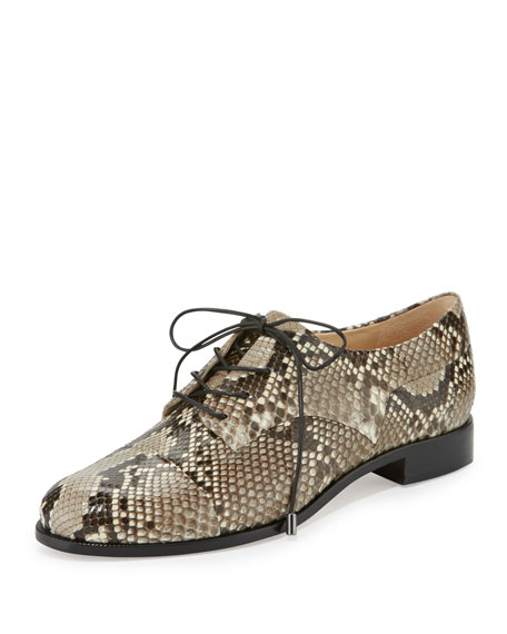 Alexandre Birman Python Lace-Up Oxford, Natural/Black