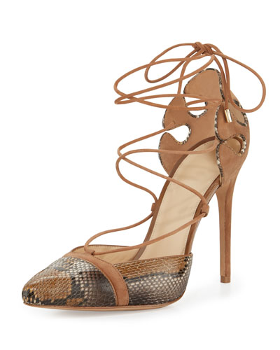 Suede & Python Lace-Up Sandal, Shadow/Beige