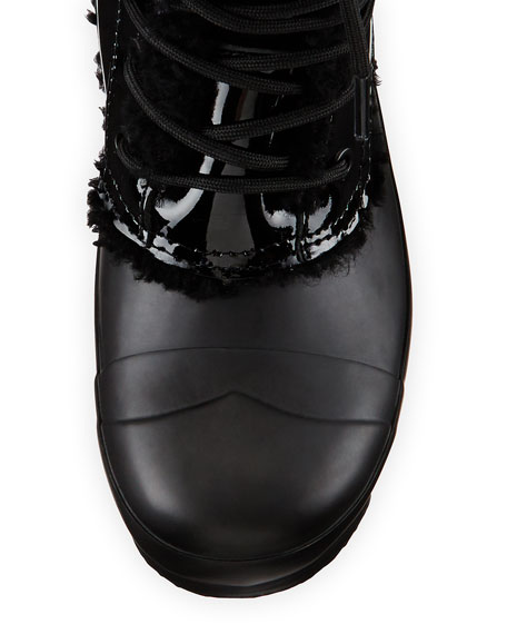 Original Patent Leather Shearling-Lined Boot, Black