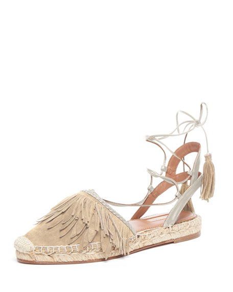 Aquazzura Fringed Suede Ankle-Wrap Espadrille Flat, Neutral