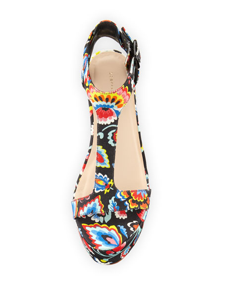 Minette Floral-Print Platform Sandal, Black/Multi