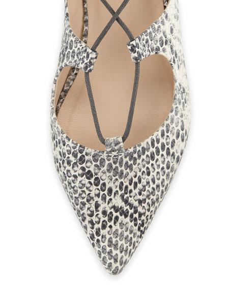 Ambra Lace-Up Ballerina Flat, Black/White
