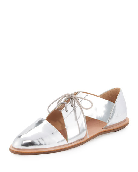 Willa Metallic Cutout Oxford Flat, Silver