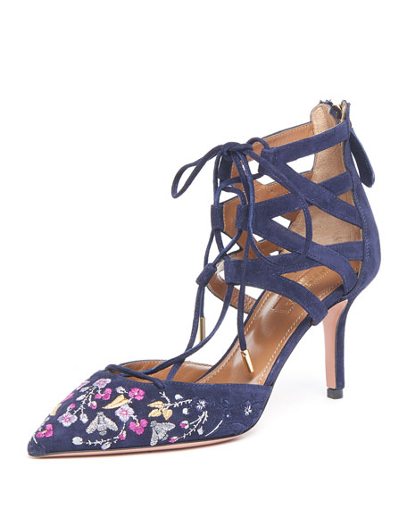 Aquazzura Belgravia Embroidered Suede Caged Pump, Ink