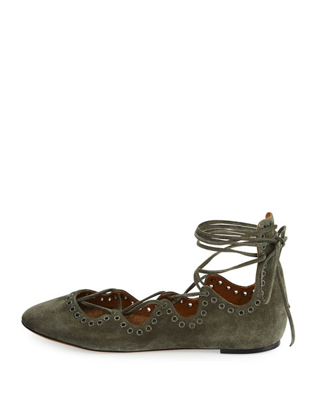 Leoni Fur-Lined Studded Lace-Up Flat