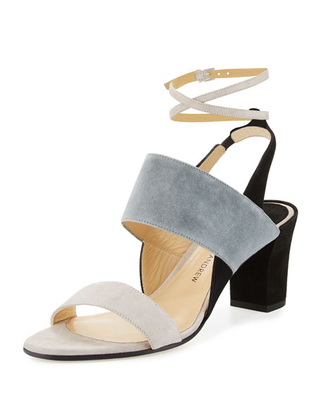 Paul Andrew Xiamen Suede Ankle-Wrap Sandal, Beryl/Mercury