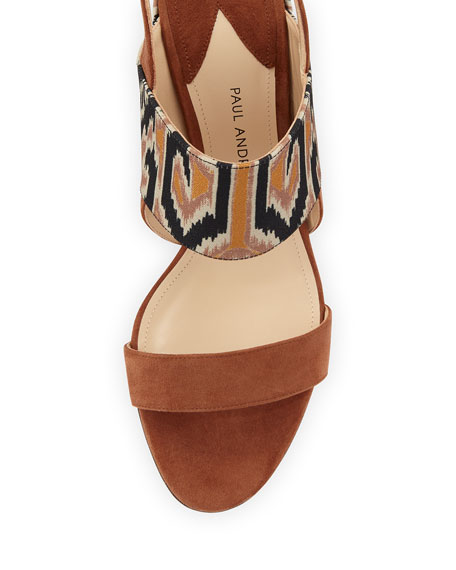 Xiamen Suede Ankle-Wrap Sandal, Sepia