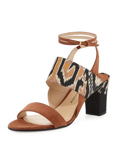 Paul Andrew Xiamen Suede Ankle-Wrap Sandal, Sepia