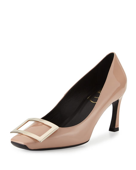 Roger Vivier Trompette Patent Leather Pump, Nude