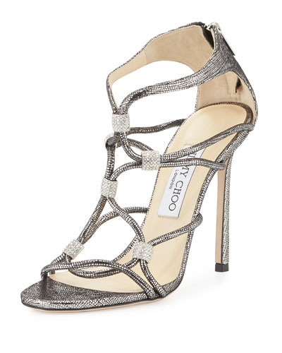 Tetrus Looped Crystal Cage Sandal, Steel/Silver