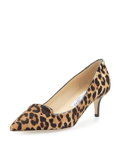 69261249760 Jimmy Choo Allure Leopard-Print Calf Hair Loafer Pump, Natural
