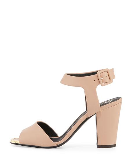 Matte Leather Block-Heel Sandal