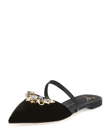 Crystal-Embellished Two-Band Velvet Slide, Black