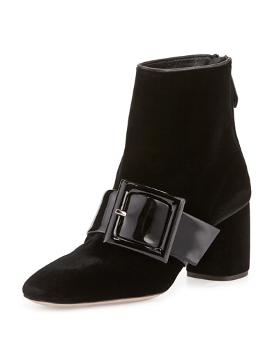 Suede Ankle Boot w/Patent Buckle, Black (Nero)