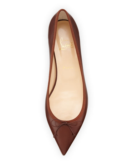 Solasofia Leather Red Sole Flat, Nude 7