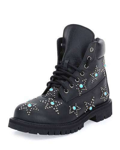 Star-Studded Leather Combat Boot, Black (Nero)
